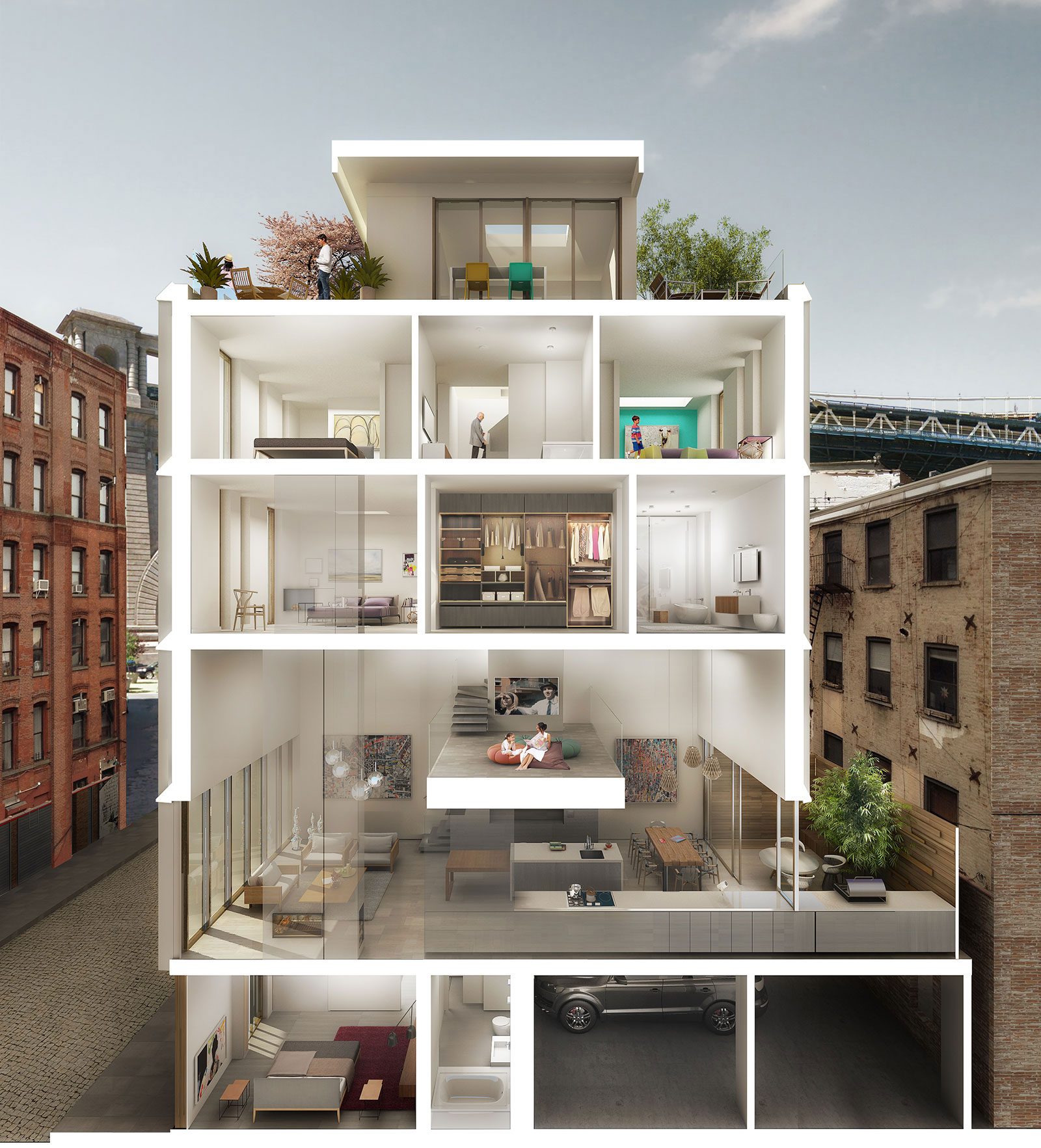 Dumbo townhouses dumbo brooklyn alloy development for Townhouse construction cost